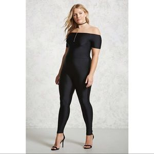 NWT F21 Sheeny Cap Sleeve Zip Jumpsuit Catsuit